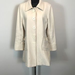 Antrhopologie TULLE Coat Ivory Snap Button Down